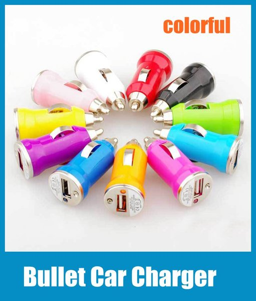 Universal Bullet Mini USB Car Charger Adapter for iphone 5 4 4S 6 Sumsang Cell Phone PDA MP3 MP4 player mobile i9500 s3 m7 Colorful CAB017