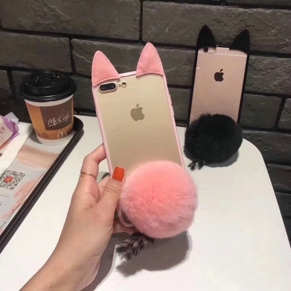 Chic cute Rabbit ear hair ball Rhinestone phone case for iPhone7 6 6S 7plus Clear TPU+PC hard back cover for iPhone8 8plus