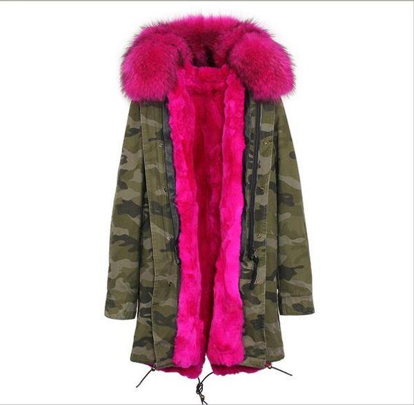 Jazzevar brand rose Raccoon fur collar rose rabbit fur liner Camouflage shell long parka women warm coats furs Liner Detachable