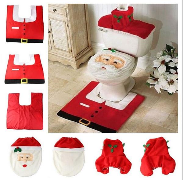 2015 Sıcak Satmak Noel Süslemeleri Santa Klozet Kapağı ve Kilim Banyo Set Mutlu NOEL Klozet Kapağı + Kilim + Tankı Mendil Kapak