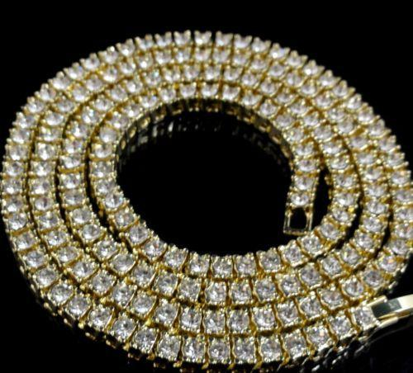 Wholesale-Mens 14k Gold Iced Out 1 Reihe Tennis Kette HipHop Halskette Bling Steampunk Halskette