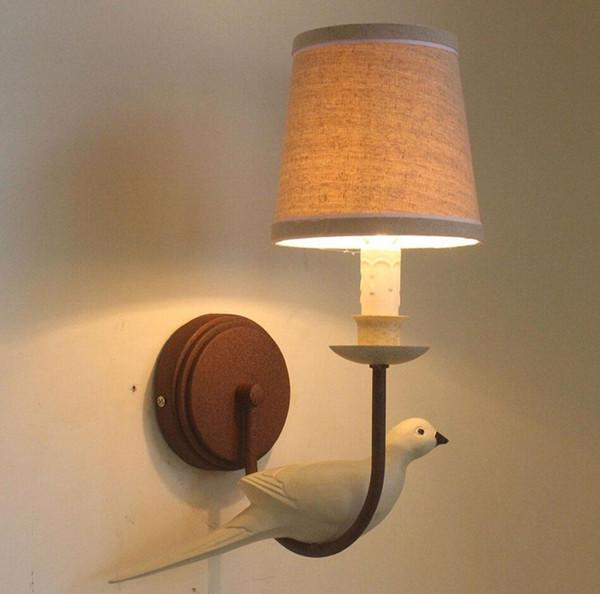 Brief America Pastoral Bird Shape Wall Lamp E14 Creative Bedroom/Bar/Via Decors Cloth Lampshade Retro Wall Lights