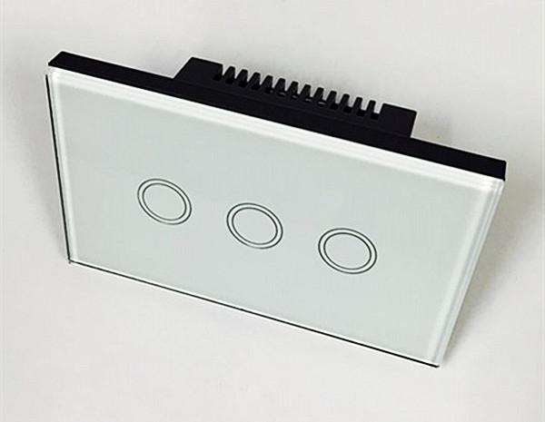 1 Pieces 3Gang 1 Touch Light Wireless Wall Switch White Black Glass Panel with Remote Control EU Standard US 110V-240V