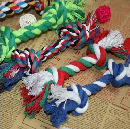 Fun Pet Chew Knot Toy Cotton Braided Bone Rope Color Puppy Dog