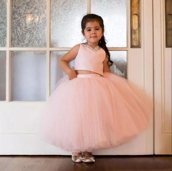 Lindo 2018 Blush Pink Tulle dos piezas de vestido de bola de las muchachas de flor vestidos para el banquete de boda de la noche Cheap Beads tobillo longitud vestido formal EN12117