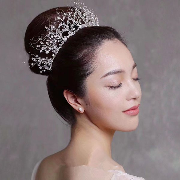 Luxury Handmade Wedding Jewelry Bridal Crystal Rhinestone Queen Crown Tiara Headband Prom Hair Accessories Silver Wholesale