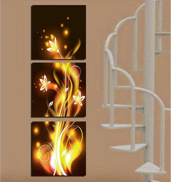 Livraison Gratuite toile nature peintures salon Toile Peinture Mur Moderne Pas Cher Images home decor doré jaune fleur art