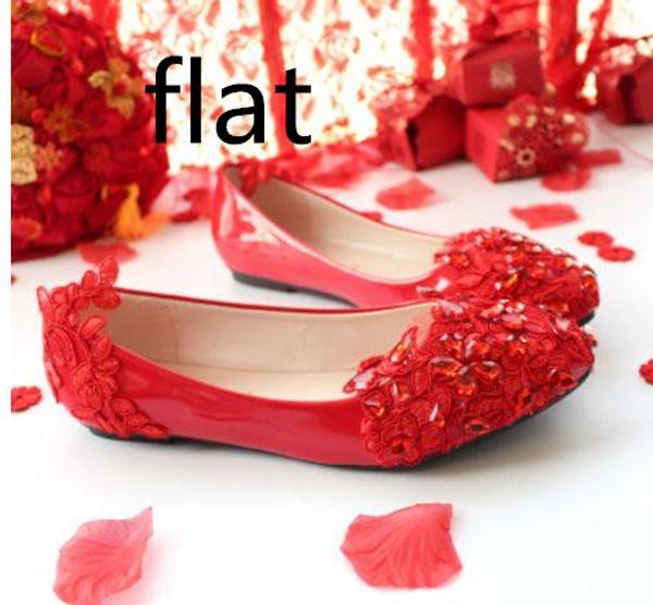 Rote flache Unterseite 3cm 5cm Braut Hochzeit Schuhe niedrigen Ferse flach Brautjungfer handgemachte Kristall Spitze wies Hochzeitskleid bestickte Schuhe