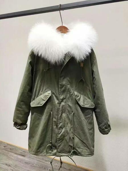 Meifeng brand Good quality white raccoon fur trim snow fur coats white rabbit fur lining army green canvas long parkas