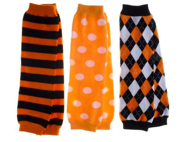 Satz von 3 Halloween-Reihenbeinwärmern heißer Verkauf gestreifte Argyle Tupfen-Baby-Beinwärmer- / Gamaschenbabykriechenknie-Babystrumpfhosen