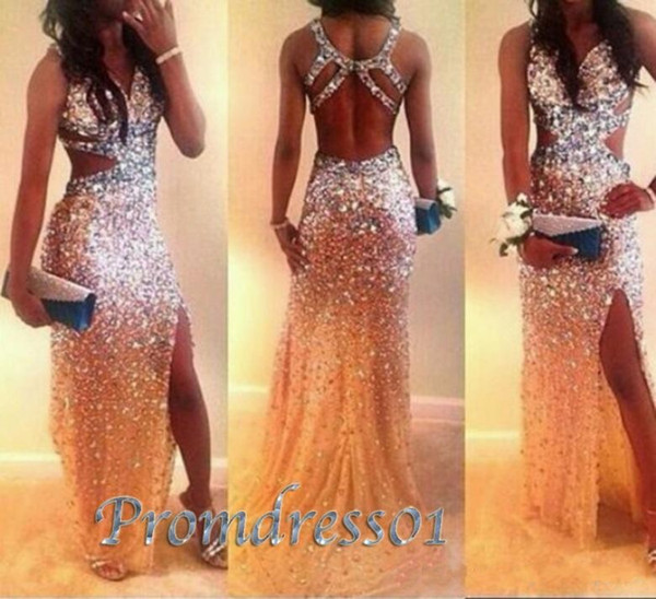 top popular Luxury Beaded Sexy Prom Dresses High Quality Shining Long Prom Party Dresses With Cross Back Side Slit Formal Evening Dress For Women 2020