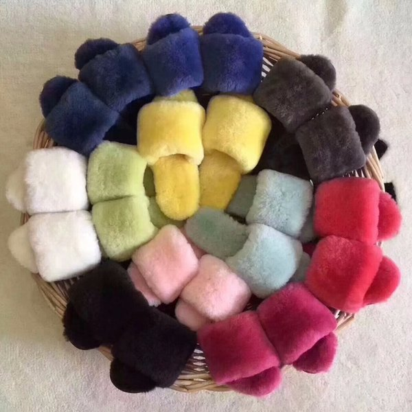 Umida Brand 100% Real Wool Fur Slippers Warm Winter Indoor Women's Slippers Size 34-44 Women Sandals Peep Toe Flip Flops Shoes