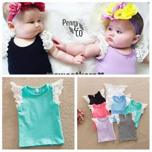 Newborn Baby Girls T-shirt Vest Singlets lace 2016 Summer top Sale Puff Shoulder straps 7 colors 6 size u pick B11
