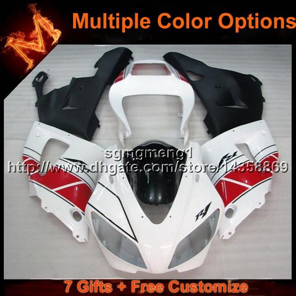 23colors + 8Gifts Cubierta de motocicleta ROJA BLANCA para Yamaha YZF-R1 98 99 YZFR1 1998 1999 Cubierta de plástico ABS
