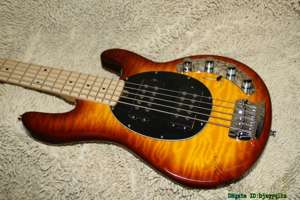 Honey Burst Wave StingRay 5 Electric Bass with Battery Maple Fingerboard OEM Cheap