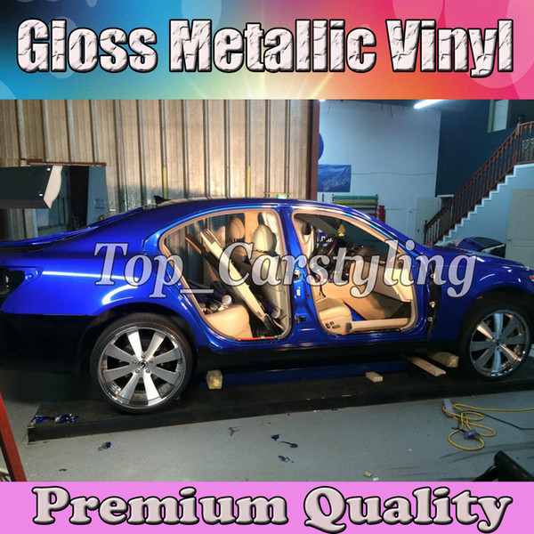 Pearl Glossy Blue Vinyl For Car Wrap Styling With Air Free Shiny Candy gloss Blue Cover Film Sticker Sheet size 1.52x20m/Roll