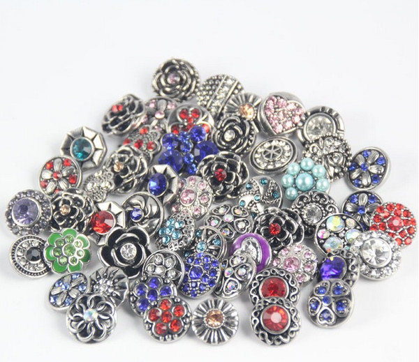 best selling chunks snap button jewelry Mix Many styles 18mm Metal Snap Button Charm Rhinestone Styles Button Ginger Snaps Jewelry qn