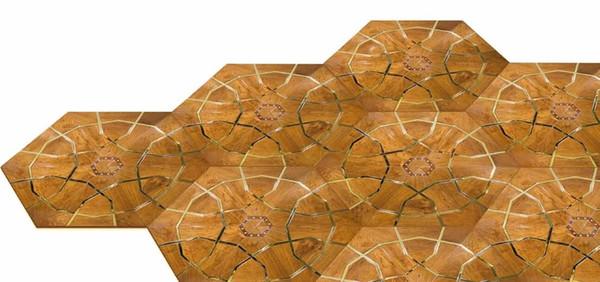 Pavimento in legno Sapele Pavimento in legno di rame privato Pavimento a mosaico Pavimento combinato Pavimento personalizzato di alta gamma Design Pavimento di casa Giada inl