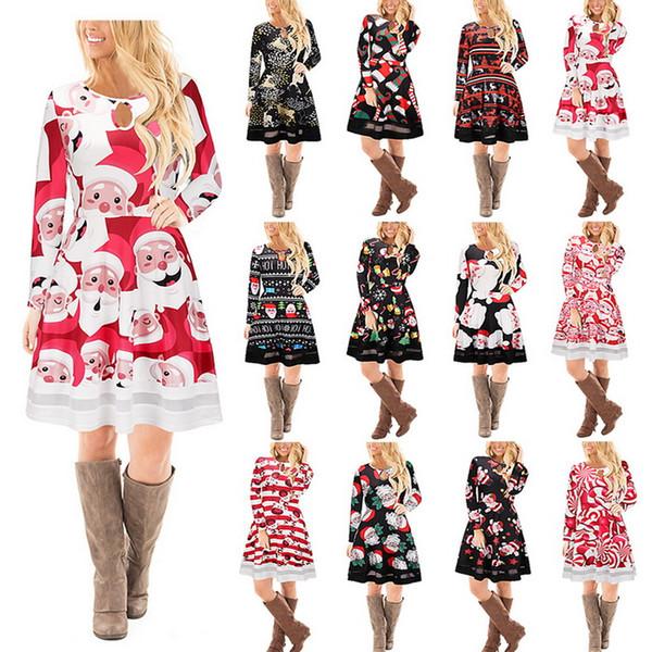 f45003e6d4f8 Long Sleeves PlusSanta Christmas Xmas Gifts Print Cartoon Flared Swing Dress  Top DK0545BK