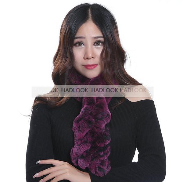 Rabbit Fur Scarf Lady Fur Scarves Women Winter Fur Ball Velvet Rabbit Warm Knitted Neck Casual Long Style Fantastic
