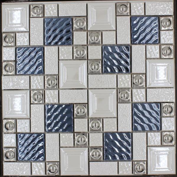 Beliebte Metall Porzellan Gemischte Mosaik Fliese Blau Silber Beige Weiss Farbe Bar Restaurant Wohnzimmer TV Hintergrund