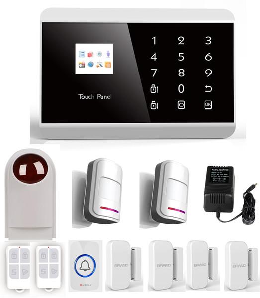 IOS Android suporte LCD Touch Screen teclado Sem Fio GSM PSTN alarme Dual Net Auto Dial Sistema de Alarme de Segurança Em Casa SG-218