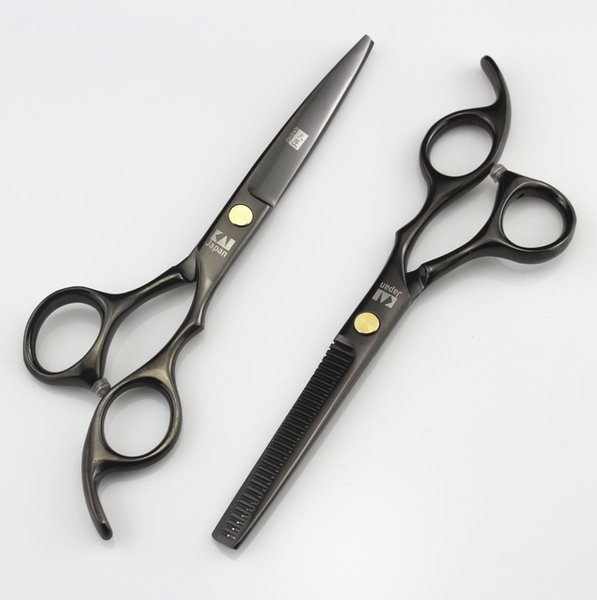 705# Black 6'' High Quality Professional Kasho Hair Cutting Scissors and Hair Thinning Shears,JP440C SS Barber and Home Hairdressing Razor