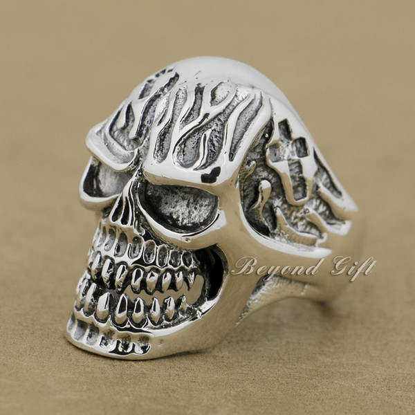 925 Sterling Silver Huge Heavy Skull Mens Biker Punk Ring 9Q019 US Size 8~14 Free Shipping