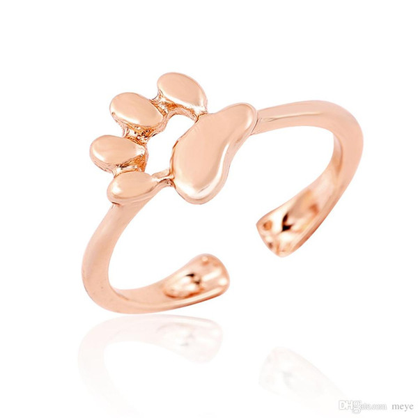 New Adjustable Hollow Dog Paw Footprints Rings For Women jewelry fashion pet ring men Wholesale jl-317