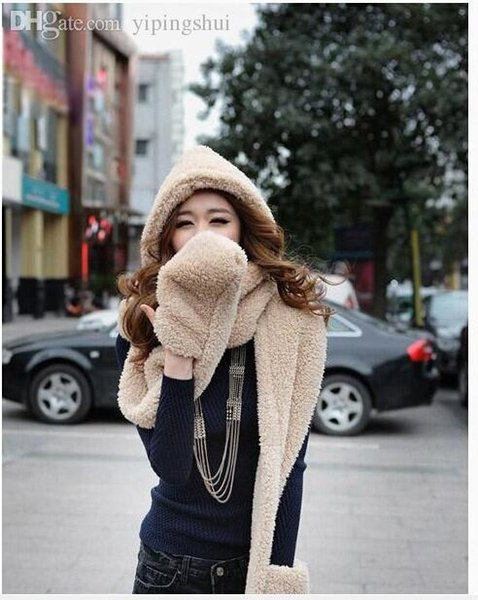 Wholesale-Ms practical collar more lovely double fuzzy line scarf hat glove