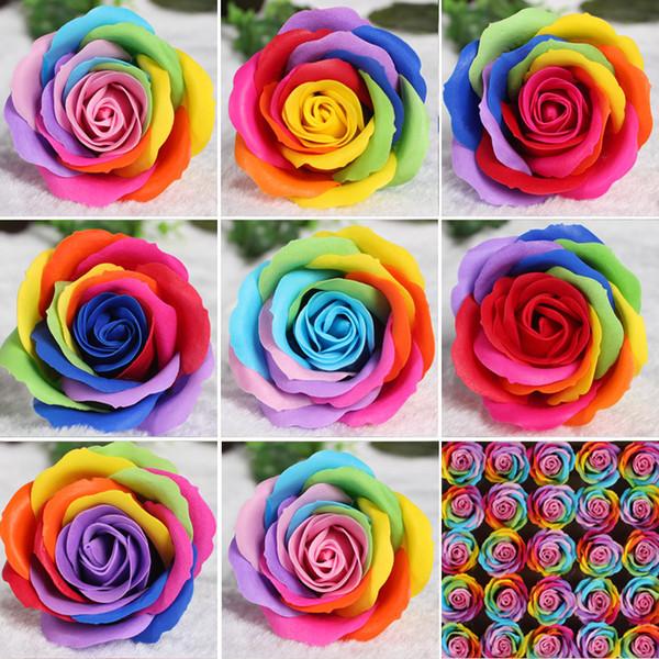 25pcs Colorful Soap Flower Artifical Flower Material Rose Head Color Rose Flowers Decorative Flowers Soap Wedding Decoration