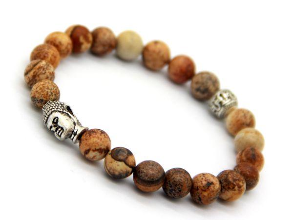 Hot Sale Jewelry Natural Picture Jasper Loose Semi Precious Stone Beads Men's Antique Silver Buddha Bracelets, Strech