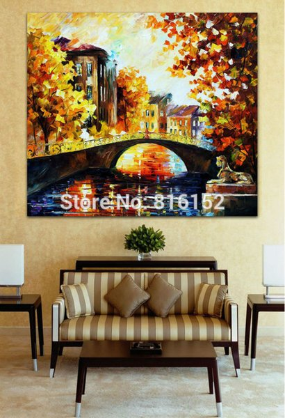 Modern Palette Knife Golden Impression Sunset And Bridge Painting Printed on Canvas for Living Room Office Wall Decoration