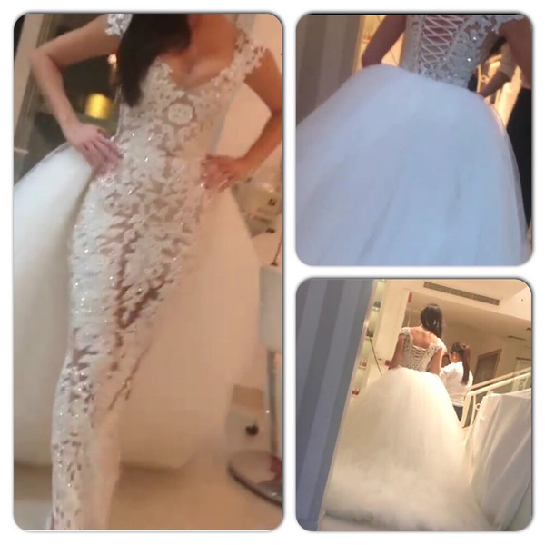 best selling Two-in-One Wedding Dresses 2015 Sexy Lace Sheath V Neck Beaded Sheer Bridal Gowns with Puffy Detachable Tulle Train 2015 vestidos de novia