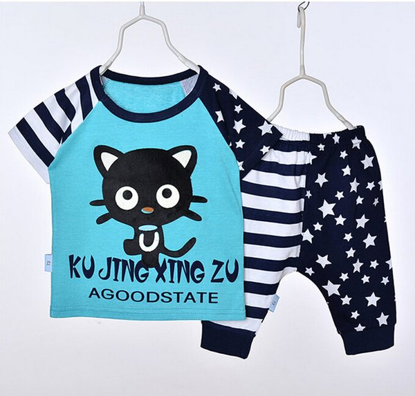 New Baby Summer Children Boy Suit Childrens Short Sleeve Star Cat T-shirt+Pant 2 Pieces Outfits Free Shipping
