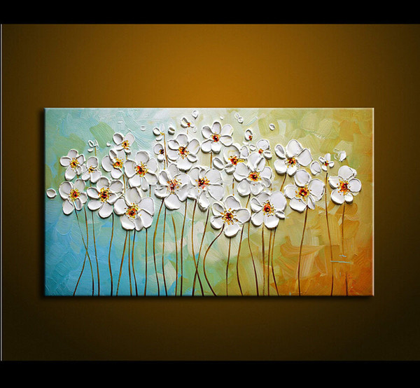 Hand Painted Textured Palette Knife White Flowers Oil Painting Abstract Modern Canvas Wall Art Living Room Decor Picture