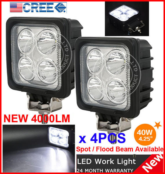 "DHL 4PCS 4.25"" 40W 4LED*10W CREE LED Driving Work Light Square Offroad SUV ATV 4WD 4x4 Spot / Flood Beam 12/24V 4000lm Truck Fog Headlamp"