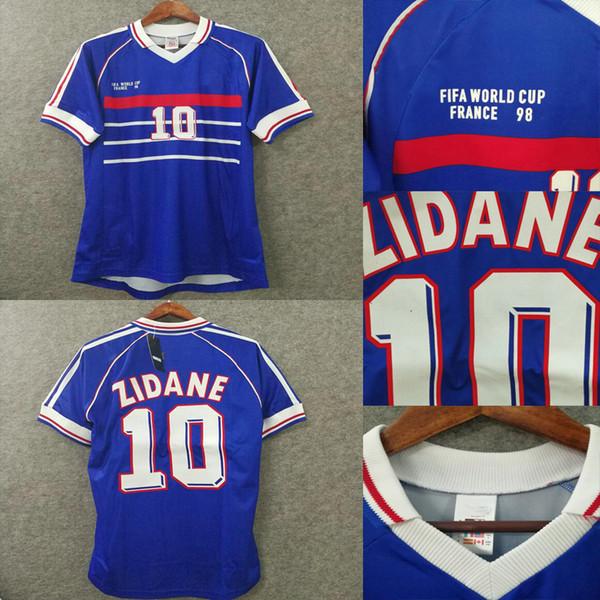 d722b837433 1998 world cup retro soccer jersey football shirts 3D Velvet font zidane 10  henry 12 Classics