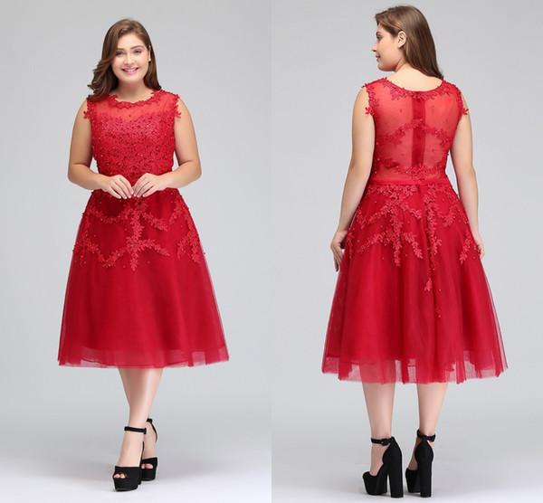 2018 Gerçek Görüntü Artı Boyutu Kırmızı Dantel Kısa Kokteyl Elbiseleri Tül Dantel Boncuklu Diz Boyu Bir Çizgi Örgün Parti Abiye CPS298