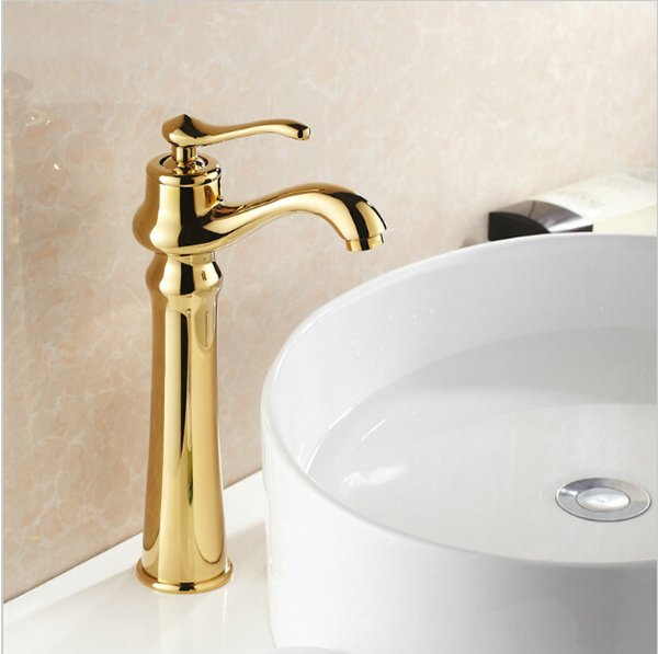 Free shipping European fashion hands to golden faucet basin mixer gold-plated copper basin faucet hot and cold faucet G1020