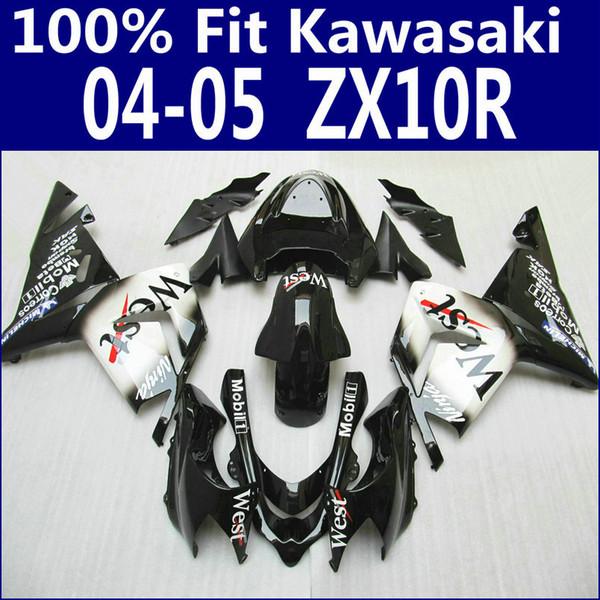 High quality fairings for Kawasaki Injection molding ZX 10R 2004 2005 bodywork ZX 10R 04 05 white black West fairing kit ZX10R LP63