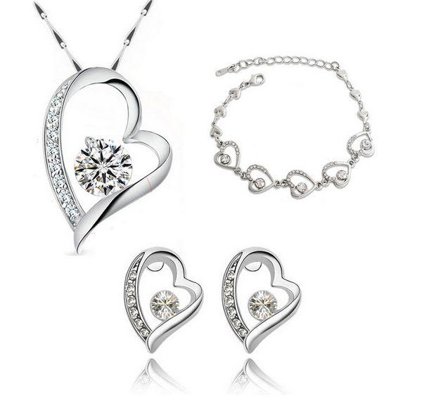 18k посеребренные сердце ожерелье серьги браслеты наборы романтический мода Кристалл ювелирные наборы для женщин любовь ювелирные наборы 8025