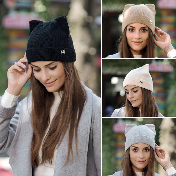 best selling Women Devil Horns Cat Ear Cute Crochet Braided Knit Beanie Ski Wool Warm Cap Hat