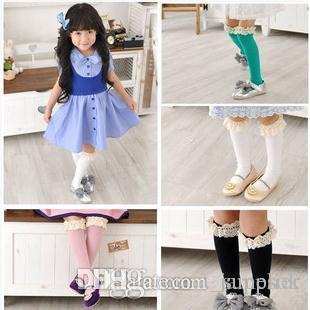Bébé filles chaussettes genou haut avec des arcs princesse chaussettes fille mignonne bébé chaussettes long tube enfants couleur pure coton dentelle chaussette b895