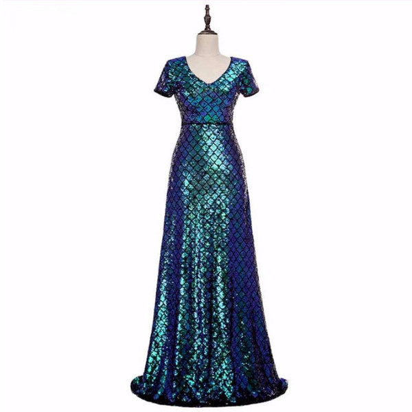 Fashion 2019 Sexy Scoop Women Evening Dresses Shining Sequins Crystals Mermaid Sweep Train Celebrity Gowns See Through Back Zipper Prom Gown