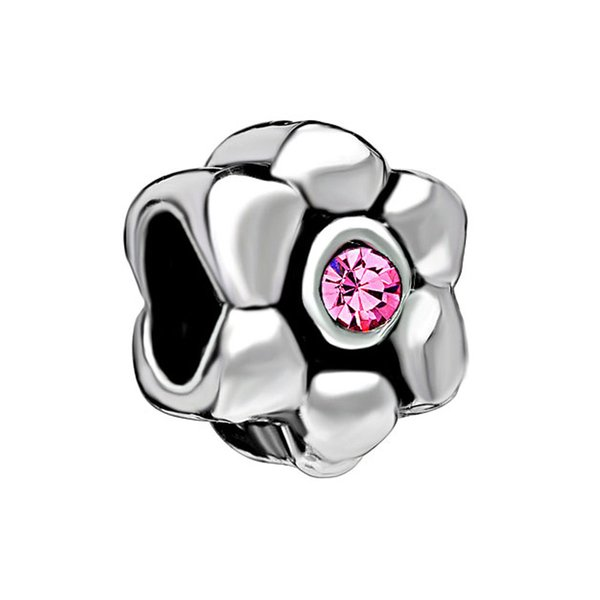 Factory directly sale Rhodium Plating Pink Crystal Charms Flower pink Birthstone Flower Charm For Pandora Bracelet