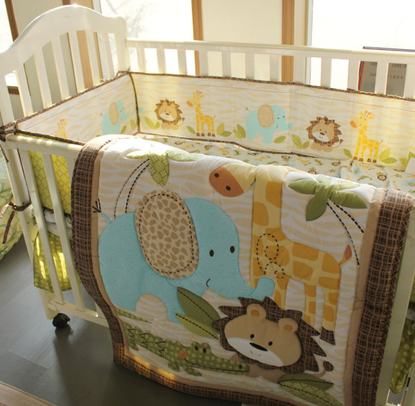 best selling 7pcs Baby boy bedding set Pure cotton 3D Embroidery lion elephant giraffe and crocodile Crib bedding set Baby Quilt Bed around Cot bedding