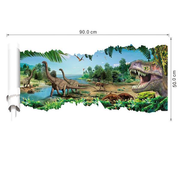 3D View Cartoon Dinosaur Wall Decal Sticker Boyes Kids Room Nursery Wall Decor Jurassic Pack Dinosaurs Wallpaper Sticker Posters