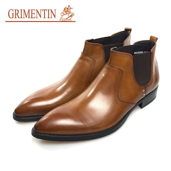 GRIMENTIN Hot sale brand dress mens boots genuine leather orange slip-on high quality mens ankle boots Italian fashion formal men shoes