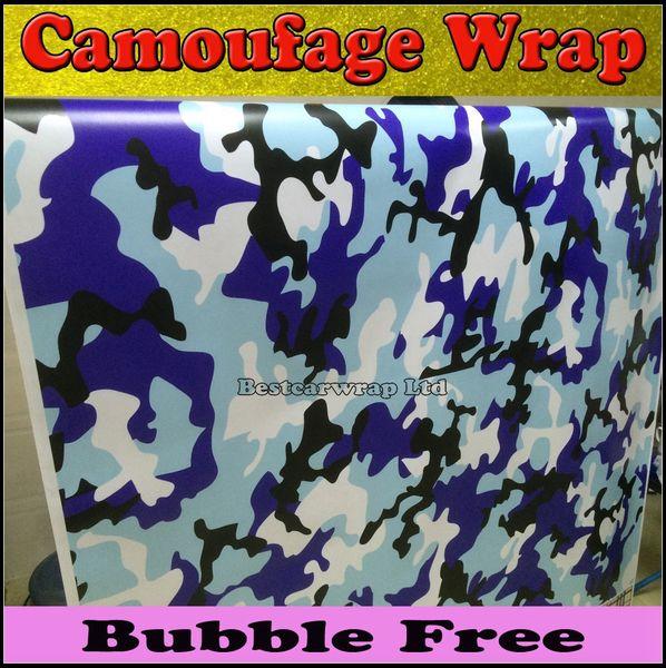 Bleu / blanc Noir Camo Arctic Camouflage / Camo Vinyle Air-Drain. Autocollant de voiture taille 1,52x30Meter / Roll